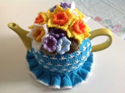 HAND KNITTED TEA COSY - Spring Flowers - Turquoise