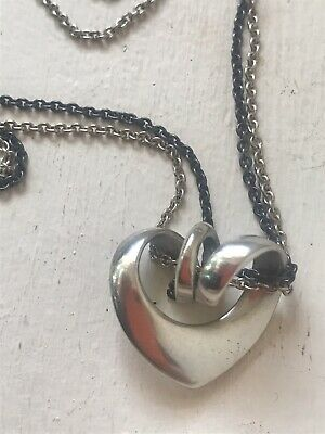 Mother's Day Georg Jensen Sterling Modernist Heart Necklace Rare Double Gj Chain