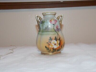 Small Nippon Vase 2 Handled Hand Painted Flowers