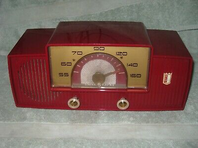 Rare Working General Electric 429 Red Plastic Mid Century Dial Beam Tube Radio
