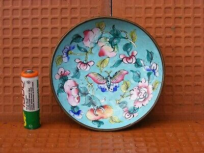 Chinese 17/18c RARE STUNNING Hand Painted Enamelled Bowl with Butterfly
