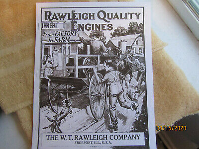1917 W. T.  Rawleigh Gas Engine Catalog All sizes,1 1/2 to 9HP   portable, pumps