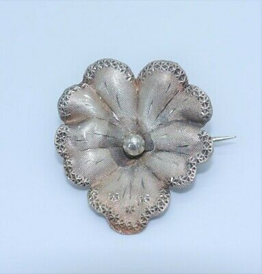 Victorian pansy pin silver stamped antique Art nouveau sterling brooch punched