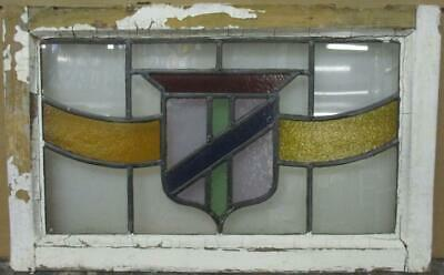 "MIDSIZE OLD ENGLISH LEADED STAINED GLASS WINDOW Stunning Shield 25"" x 15.75"""