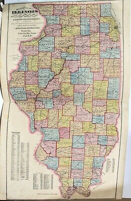 "Original 1871 2-Page Color Map of the State of Illinois 17"" x 28"""