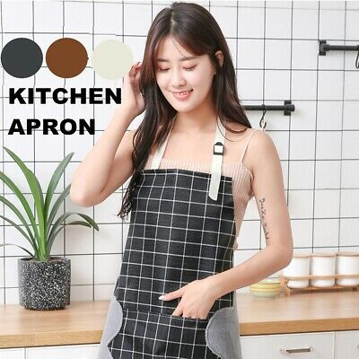 Waterproof Woman Plaid Apron with Pocket Home Kitchen Restaurant Cooking