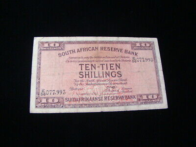 South Africa 1941 10 Shillings Banknote VG Pick #82d