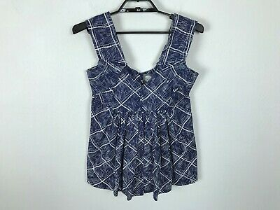 Anthropologie Girls From Savoy Blouse Size 2 Blue Sleeveless Ruched Shirt Top