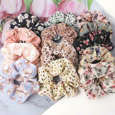Sweet Chiffon Floral Leopard Print Scrunchies Hair Ties Rubber Band Hair Rope UK