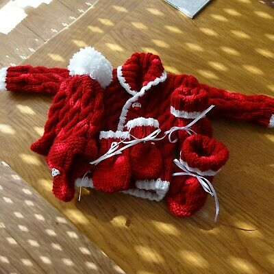 Hand Knitted Baby Boy's Cardigan, Hat, Mitts & Bootees 0-3 months