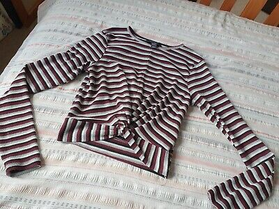 Girls New Look Burgundy Striped Cropped Long Sleeve Top With Twist Detail Age...