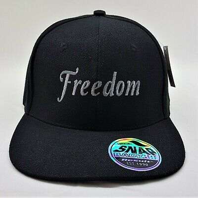 Freedom Embroidered Snap back Cap Black with Silver logo.