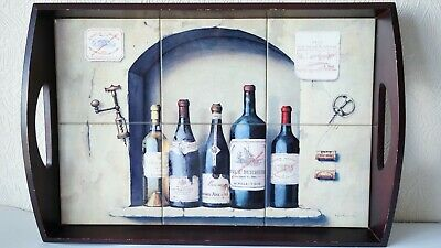 Vintage Wine Tray Decorated With Ceramic Glazed Tiles Interior Bar Cafe Excellen