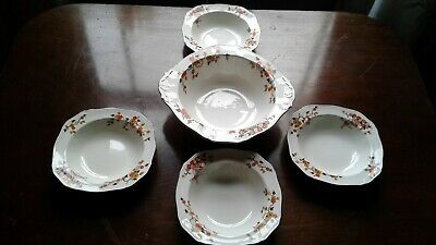 JAlfred Meakin 'Delicia' serving bowl &  4 small bowls 1930s (?) Art Deco