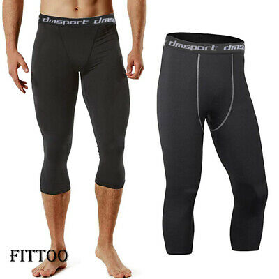 Mens White Compression 3//4 Cropped Pants Under Base Layer Tights #HLFN M-L