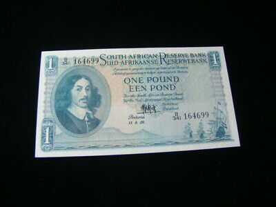 South Africa 1958 1 Pound Banknote AU Pick #92d