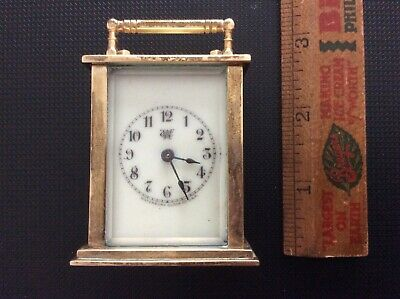 """Antique WATERBURY CLOCK CO., Small 3"""" Brass Carriage Clock, Patent 1905"""