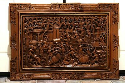 "Antique Thai Hand Carved Wood Panel & Frame Masterful Craftsmanship 44"" X 32"""