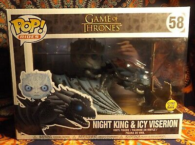 Funko POP! RIDES GAME OF THRONES NIGHT KING & ICY VISERION GLOW GITD Comb Ship->