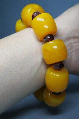 Collectable Decorative Exquisite Amber & Red Bead Auspicious Beautiful Bracelet