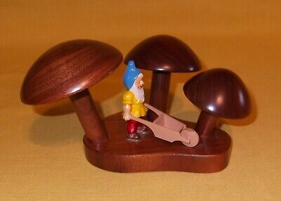 WOODEN CARVED HANDCRAFTED MUSHROOMS with GNOME ELF DECORATION