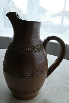 Lovely French Antique / Vintage Glazed Rustic Pitcher Jug - Brown Hand Decorated