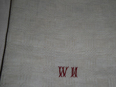 9 French Damask Large Tea Towels Torchons -  Small Monogramme Wm - Beige