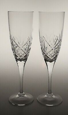 Pair of Royal Doulton  Hellene Crystal Champagne Flutes 8 1/4""