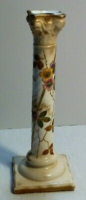 Antique Porcelain Candlestick Hand Painted Flowers & Gold Royal Worcester Style