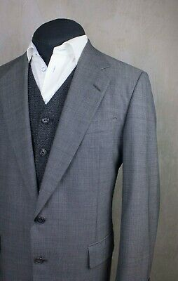 Men's Chester Barrie Savile Row Gray 2 Btn Jacket Size 50R Super 100`S Wool