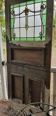 LEADLIGHT FRONT ENTRANCE SET - Original Art Deco Front door & Leadlight Windo...