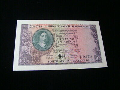 South Africa 1958 10 Pound Banknote XF Pick #99