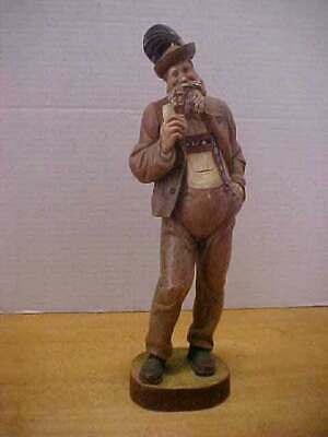 """Vintage Oberammergau German Carved Figure Man with Pipe 10 1/2""""Tall Free Ship"""
