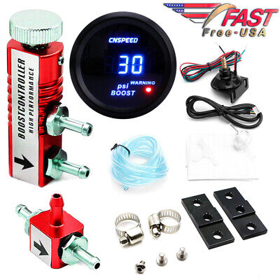 0-30PSI Manual Boost Controller Kit RED w/ 52mm Digital Electronic BOOST GAUGE
