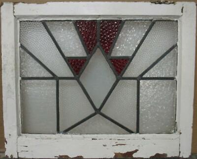 "OLD ENGLISH LEADED STAINED GLASS WINDOW Awesome Geometric Design 21.5"" x 17.5"""