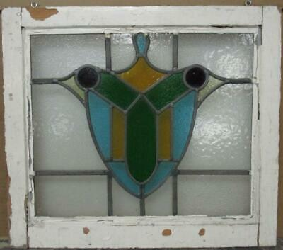 "OLD ENGLISH LEADED STAINED GLASS WINDOW Pretty Abstract Shield 21"" x 18.5"""