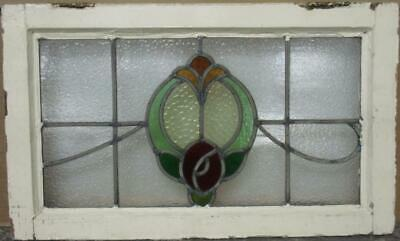 "MIDSIZE OLD ENGLISH LEADED STAINED GLASS WINDOW Pretty Floral Sweep 23.25"" x 14"""