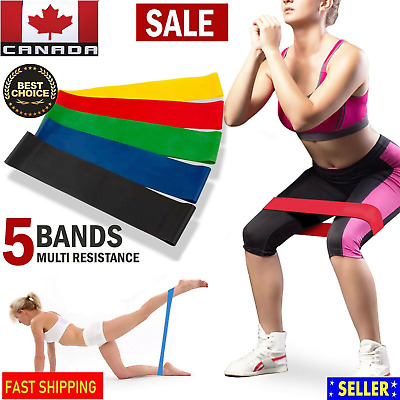 Set of 5 Yoga Resistance Bands Loop Pull Up Exercise Fitness Strength Training
