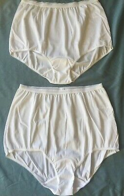 Vtg SEARS White Silky Nylon Brief Granny Panties Size 7 ~ Two Pairs Unworn
