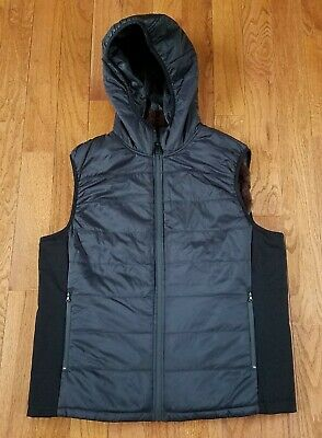 Vince Camuto Mens Black Hooded Vest Quilted Lightweight Fur Lined Soft LARGE NWT