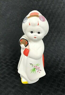 Vintage Japanese Bisque Hakata Clay Figurine White Ceramic Hand Painted EUC