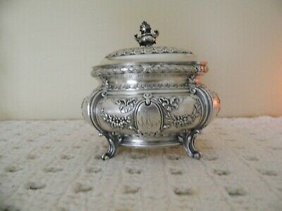 "CIRCA 1880's GERMAN CONTINENTAL SILVER TEA CADDY 5 1/2"" BOX"