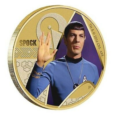 2016 Star Trek Spock Tuvalu $1 One Dollar UNC Coin Perth Mint With Card