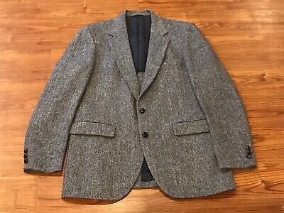 Harris Tweed Stafford Blazer Suit Jacket 42L Gray Herringbone Wool Vtg
