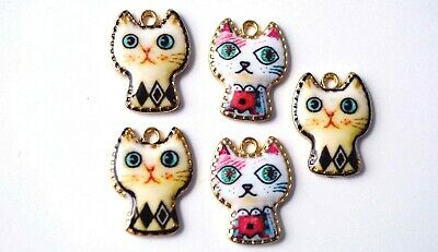 50606 Vintage Silver Alloy Cute Kitten Pendants Charms Findings Crafts 12pcs