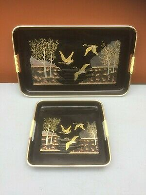 Vintage Japanese Lacquer Ware TEA TRAY SET of Two