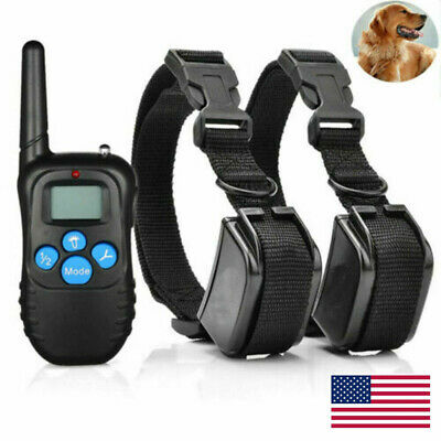 Dog Shock Training Collar Rechargeable LCD Remote Control Waterproof 330 Yards