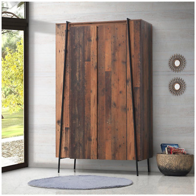 Abbey 2 Door Wardrobe - Rustic - Retro - Particle Board - New - Flat Packed