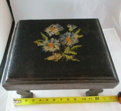 "Antique Victorian Foot Stool 10.5"" X 13"" Worn Needle Work Top Blue Flowers"