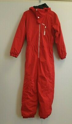 Dd392 Boys Decathlon Red Skiing Ski Suit All In One Hooded 12 Years W30 L26